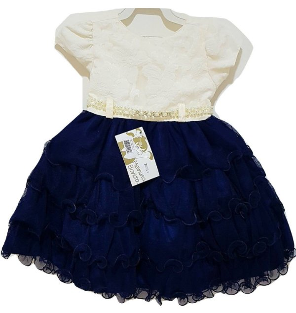 Vestido Infantil de Festa Creme/Azul Marinho - Menina Bonita