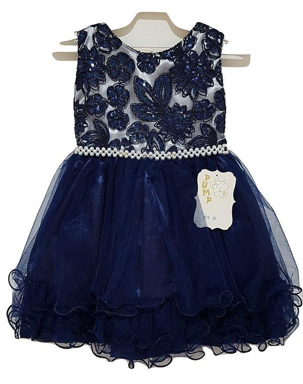 Vestido Infantil de Festa com Bolero Azul - Pump