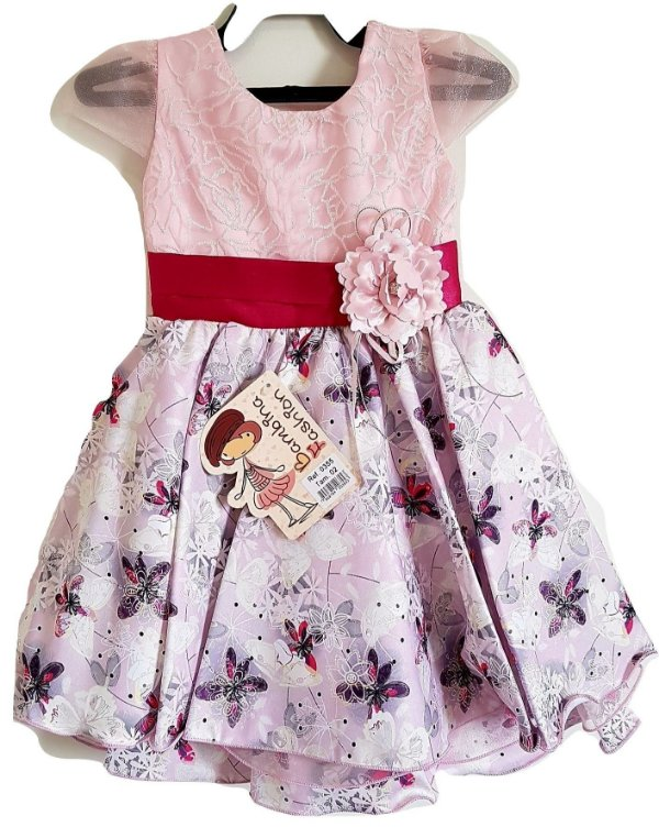 Vestido Infantil Festa Rosa cinto Flor - Bambina Fashion