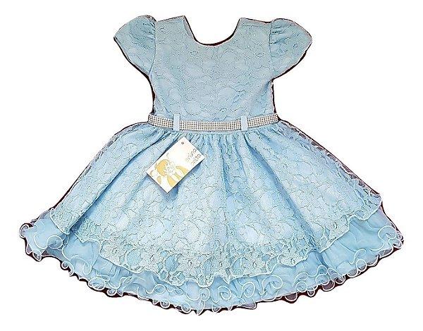 Vestido Infantil Azul Cinderela Menina Bonita