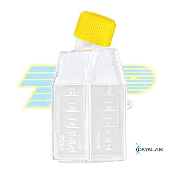 """Frasco para cultura celular 25cm2 (15mL), sem filtro (""""Vent""""), PS, embalagem tripla (3-B), caixa com 28 unidades mod.: 390025 (TPP)"""