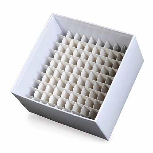 Caixa de armazenamento em fibra de papelão para 100 microtubos de 3 mL a 5 mL, mod.: K30-0103 (Kasvi)