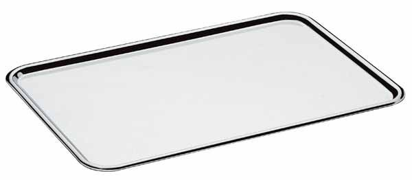 Bandeja retangular lisa 37 x 27 cm, borda com altura de 1,5 cm, mod.: 0940 (Art'Inox)