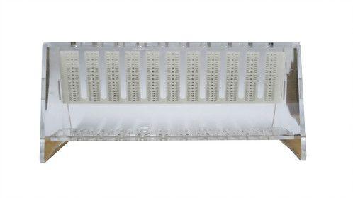 Suporte em plastico acrílico, capacidade para 10 tubos VHS, mod.: 3273 (Vacuplast)