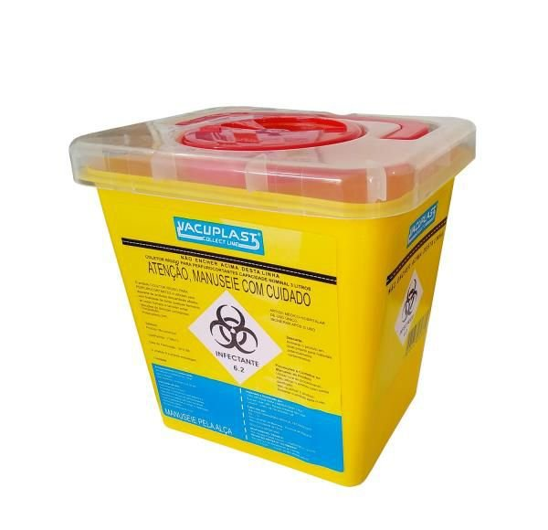 Coletor Material PerfuroCortante 3 litros, Com Símbolo Infectante, Recipiente Rígido, unidade, mod.: PERFU3 (Vacuplast)
