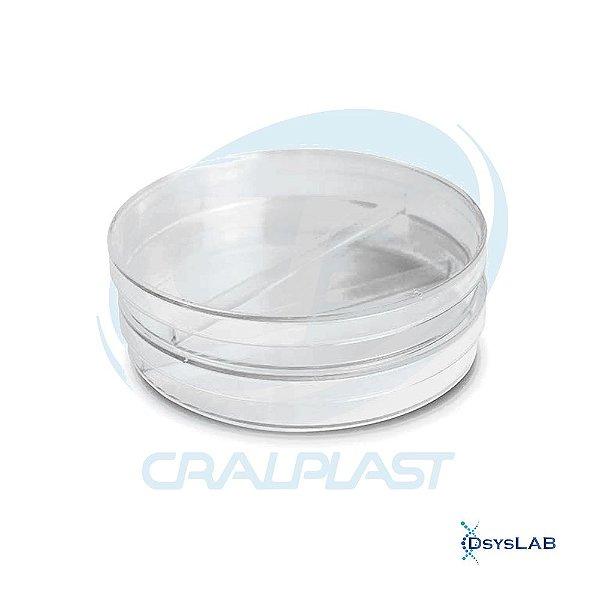 Placa de Petri para Microbiologia 90x15mm Bipartida, com 1 divisoria, Estéril, Pacote c/10 unidades (Cralplast)