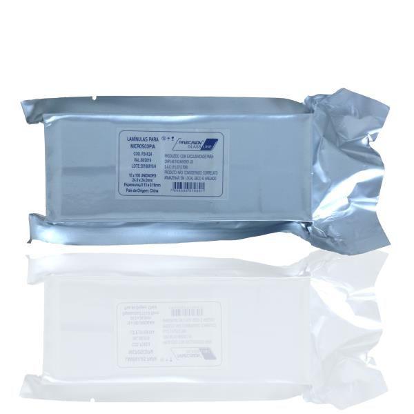 Lamínula de vidro para microscopia, 24x32 mm, pacote com 10 caixas com 100 unidades, mod.: P24X32 (Precision)
