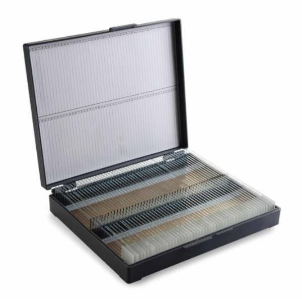 Caixa plástica, tipo maleta, capacidade para 100 lâminas de microscopia, unidade (CRALPLAST)