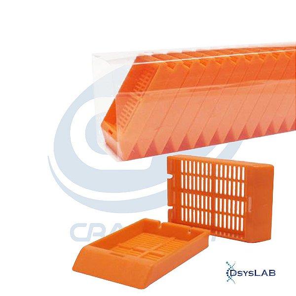 Cassete para biopsia (automação)laranja, rack com 75 unidades, caixa com 1.500 unidades, mod.: 4303NE (Cralplast)