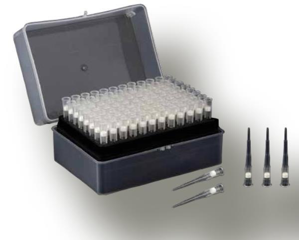 Ponteira com filtro, tipo Gilson, capacidade de 100 uL, estéril, rack com 96 peças, mod.: 1004 (Bionaky)