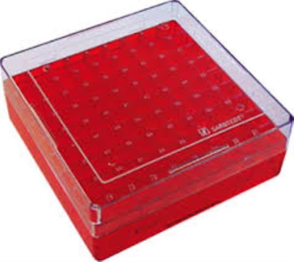 Criobox para 81 microtubos de 3 à 5 mL, policarbonato, vermelho, unidade, mod.: CB81T5R (Bionaky)