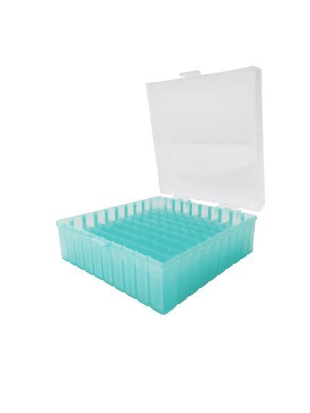 Criobox para 100 microtubos até 2 mL, tampa dobradiça com trava, verde, unidade, mod.: CRIO100G (Cralplast)