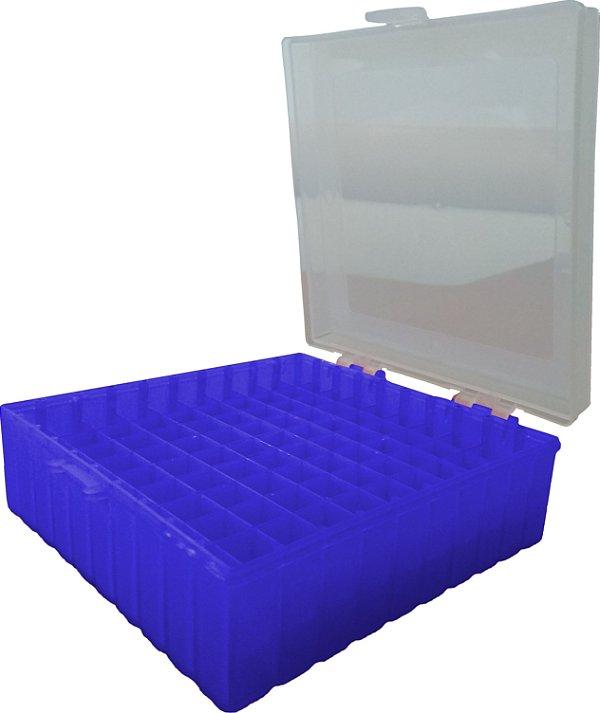Criobox para 100 microtubos até 2 mL, tampa dobradiça, azul, alfa-numérico, unidade, mod.: CRIO100B (Cralplast)