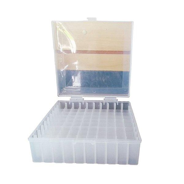 Criobox para 100 microtubos até 2 mL, tampa dobradiça, cor neutra, unidade, mod.: CRIO100N (Cralplast)