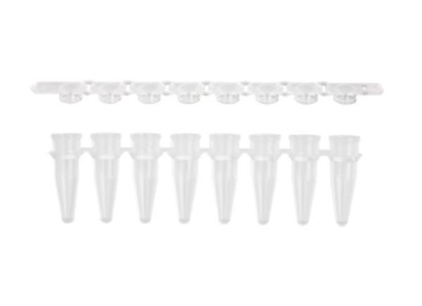 """Microtubo de PCR em Tiras de 8x200 uL, Transparente, com Tampa """"Snaplock"""", pacote com 125 tiras, mod.: PCR-0208-FCP-C (Axygen)"""