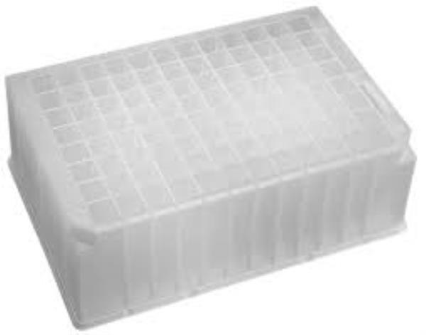 Placa com 96 poços profundos quadrados, volume de 2,2 mL caixa com 25 unidades, mod.: P-2ML-SQ-C (Axygen)