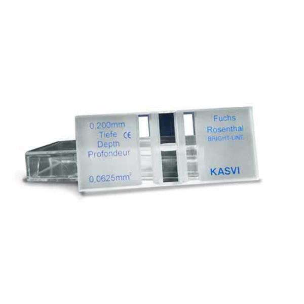 Câmara de contagem Fuchs-Rosenthal Melhorada Espelhada, Caixa com 1 câmara e 2 lamínulas, mod.: K5-0127 (Olen)