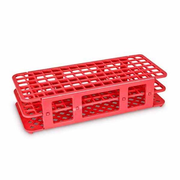 Estante tipo grade, PP, para 90 tubos de 13 mm, alfanumérica, vermelho, unidade, mod.: K30-9013R (Olen)
