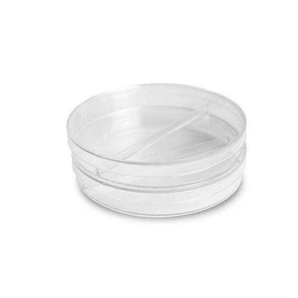 Placa de Petri para Microbiologia 90X15mm Bipartida, com 1 Divisória, Pacote 10 unidades, mod.: K30-90151 (Olen)