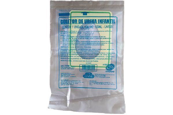 Coletor Urina Infantil Unissex 100 mL, Estéril, caixa 100 unidades, mod.: CLTUNIV (Cralplast)