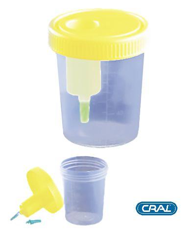Coletor Urina Sistema Transferência 120 mL, Estéril, caixa 200 unidades, mod.: CLT120UV (Cralplast)