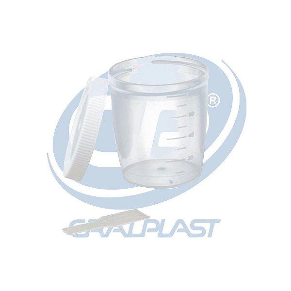 Coletor Universal 80 mL, Com Pá, Não Estéril, Frasco Transparente e Tampa Branca, Graduado, pacote 100 unidades, mod.: CLT80SM (Cralplast)