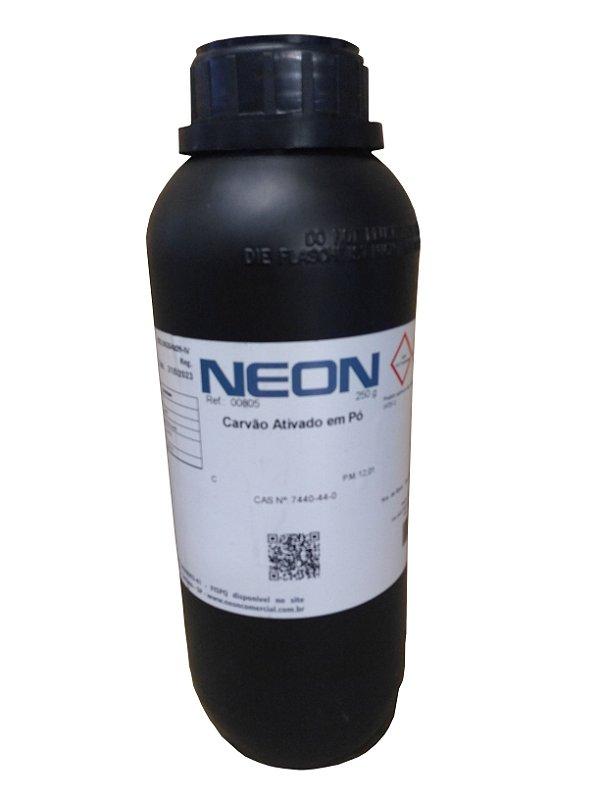 Carvão ativado em Pó, CAS nº 7440-44-0, frasco com 250 gramas, mod.: 805 (Neon)