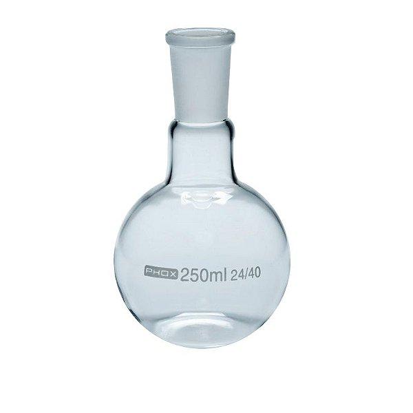 Balão Fundo Chato em Borossilicato de 250 mL, com Junta 24/40, unidade, mod.: 5007-250 (Phox)