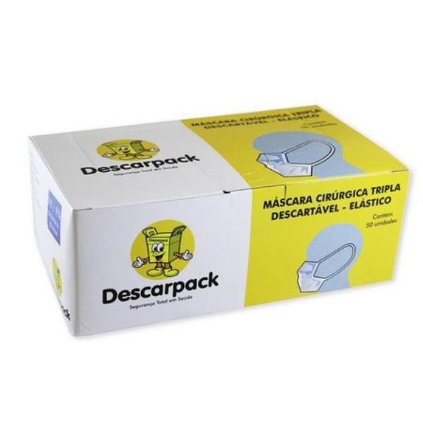 Máscara cirúrgica descartável com elástico, caixa com 50 unidades, mod.: 110601 (Descarpack)