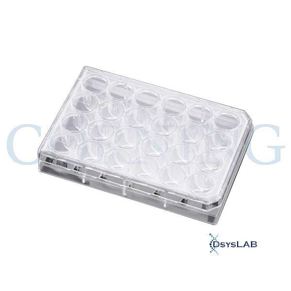 Microplaca para cultivo celular 24 poços, superfície tratada, caixa com 50 unidades mod.: 3526 (Corning)
