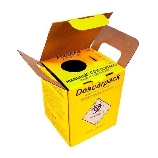 Coletor Material PerfuroCortante 1,5 litros, com desconector de agulhas, em Papelão, caixa com 10 unidades, mod.: COLPC015L203 (Descarpack)