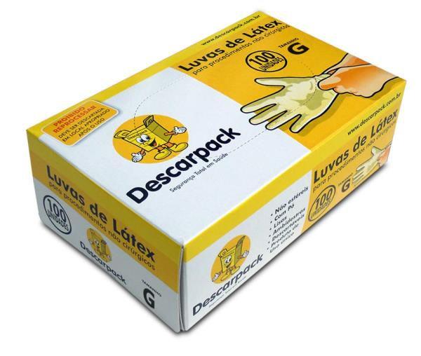 Luva Procedimento Não Cirúrgico, Não Estéril, Latéx, Com Talco, Branca, Grande, caixa 100 unidades, mod.: 0530401 (Descarpack)
