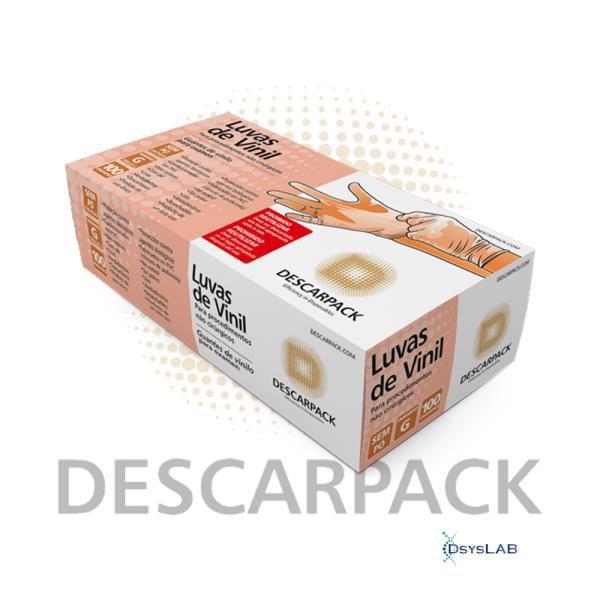 Luva de Vinil, Não Estéril, Sem Talco, Pequeno, caixa c/100 unidades, mod.: 0541101 (Descarpack)