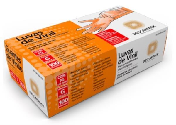 Luva de Vinil, Não Estéril, Com Talco, Médio, caixa c/100 unidades, mod.: 0540201 (Descarpack)