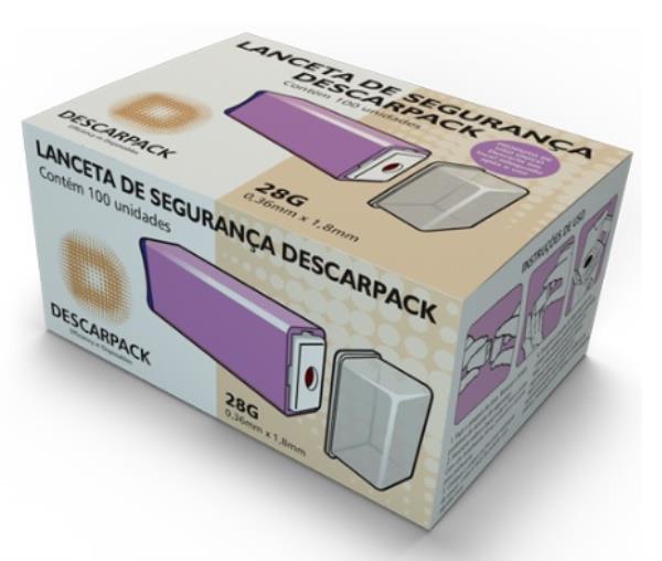 Lanceta de Segurança, 28G, Caixa com 100 unidades, mod.: 0600101 (Descarpack)