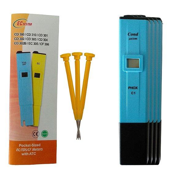 Condutivímetro de Bolso (tipo Caneta), Indicação Digital e Compensação Automática de Temperatura, mod.: C108 (Phox)