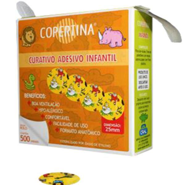 Curativo adesivo infantil, estéril, hipoalergênico, diâmetro de 25mm em rolo, caixa com 3.000 unidades, mod.: COPE500IR (Copertina)