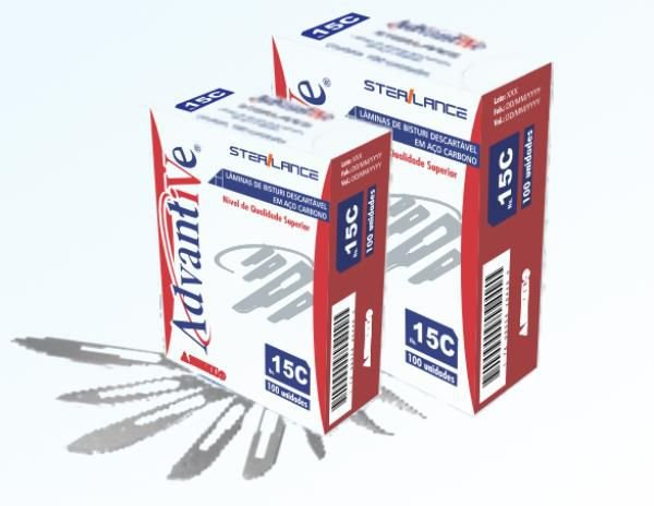 Lâmina de Bisturi nº 24, Aço Carbono, Estéril caixa com 100 unidades, mod.: LAMBI24C004 (Advantive)
