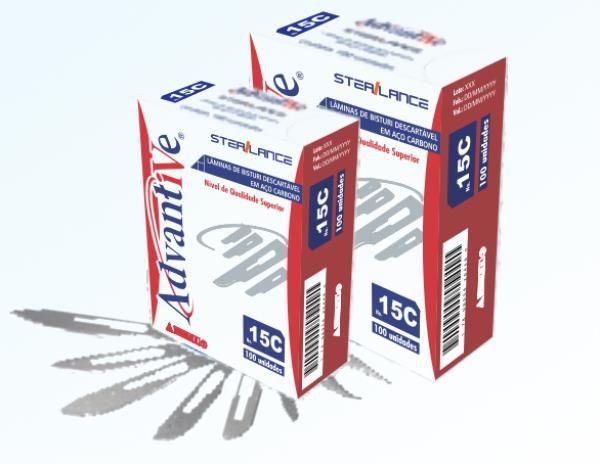 Lâmina de Bisturi nº 24, Aço Inox, Estéril caixa com 100 unidades, mod.: LAMBI24I004 (Advantive)
