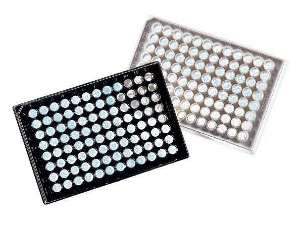 Microplaca 96 poços, Branca, PS, fundo transparente, não tratada, não estéril, caixa com 100 unidades, mod.: 3632 (Corning)