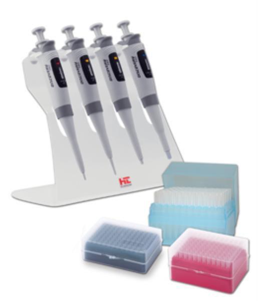 Kit 4 Micropipetas Volume Variável Monocanal Discovery Pro de 0,5-1000uL, 1 Suporte inclinado e 3 racks com ponteiras, mod.: 7903 (HTL)