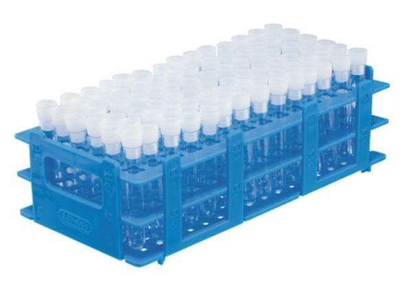 Estante tipo grade em polipropileno, para 84 tubos de 14mm, não autoclavável, azul, unidade, mod.: 2807-5 (J.Prolab)