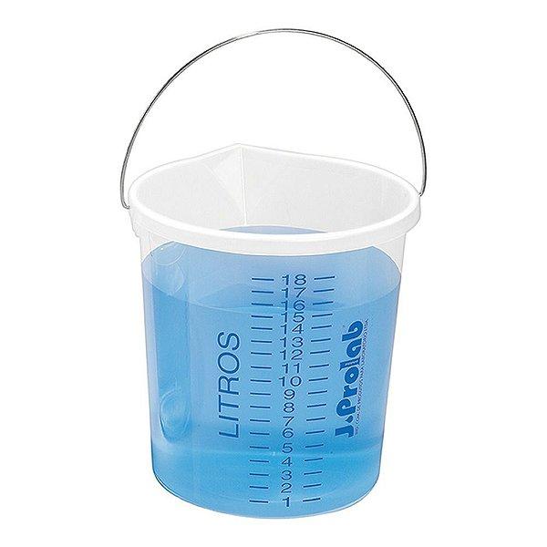 Balde em polipropileno, graduado, com bico, capacidade de 20 litros, alça metálica galvanizada, mod.: 8100-5 (J.Prolab)