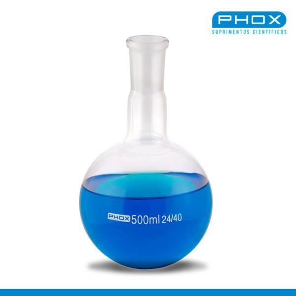 Balão Fundo Redondo em Borossilicato de 3.000 mL, com Junta 24/40, unidade, mod.: 5008-3000 (Phox)