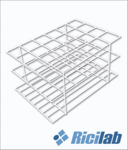 Estante fabricada em arame revestida com PVC branco, para colocação de 60 tubos de 21 mm, mod.: RIC032-6021 (Ricilab)