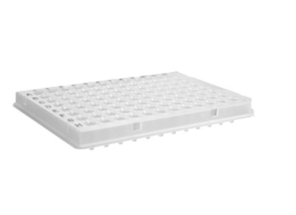 Microplaca de PCR 96 Poços, 0,1mL (100uL), meia Borda, perfil baixo, código de barras, caixa com 100 unidades, mod.: PCR-96-LP-AB-C-BC (Axygen)