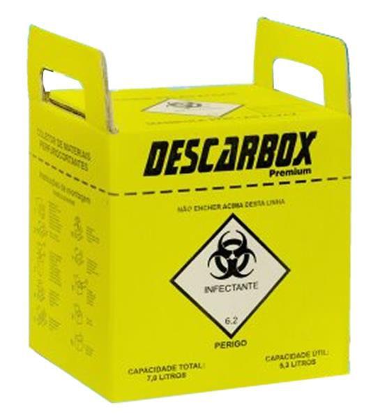 Coletor Material Perfuro Cortante 7 litros, Recipiente em Papelão, unidade, mod.: COLPC07L724 (Descarbox)