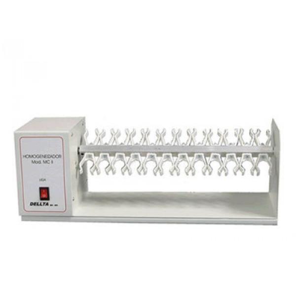 Homogeneizador com capacidade para 22 tubos, com garras plásticas, potência de 24 rpm, mod.: MC II (DELLTA)