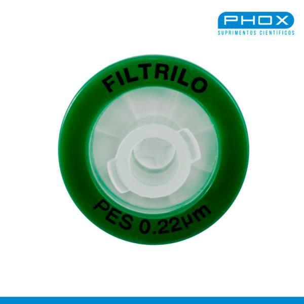 Filtro seringa PES Hidrofílico de 0,22μm x 13 mm (P x D), Caixa com 100 unidades, mod.: SFPES-1322 (Filtrilo)