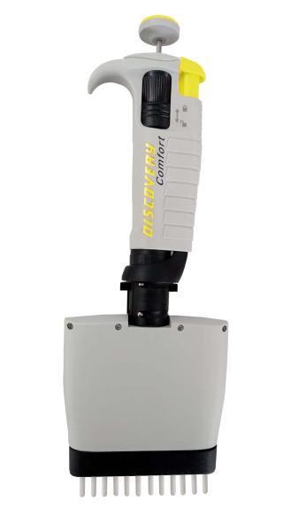 Micropipeta Mecânica Multicanal (12), Vol. Variável entre 5 e 50 uL,Trava de Segurança, Discovery comfort, mod.: DV12-50 (HTL)